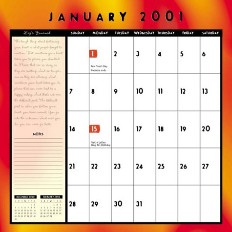 January 2001 page of the Roswell Calendar