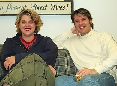 Gretchen J. Berg and Aaron Harberts in the writers' office.