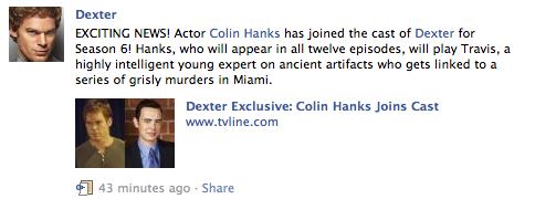 """Crashdown com » Colin Hanks Leading » Colin's role on """"Dexter"""" has"""